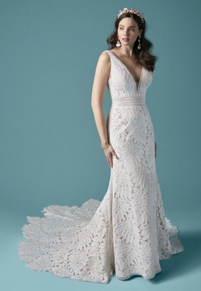 Sleeveless V-neckline Lace Fit And Flare Wedding Dress by Maggie Sottero