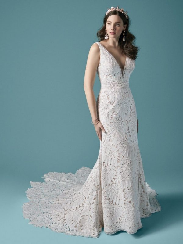 Sleeveless V-neckline Lace Fit And Flare Wedding Dress by Maggie Sottero - Image 1