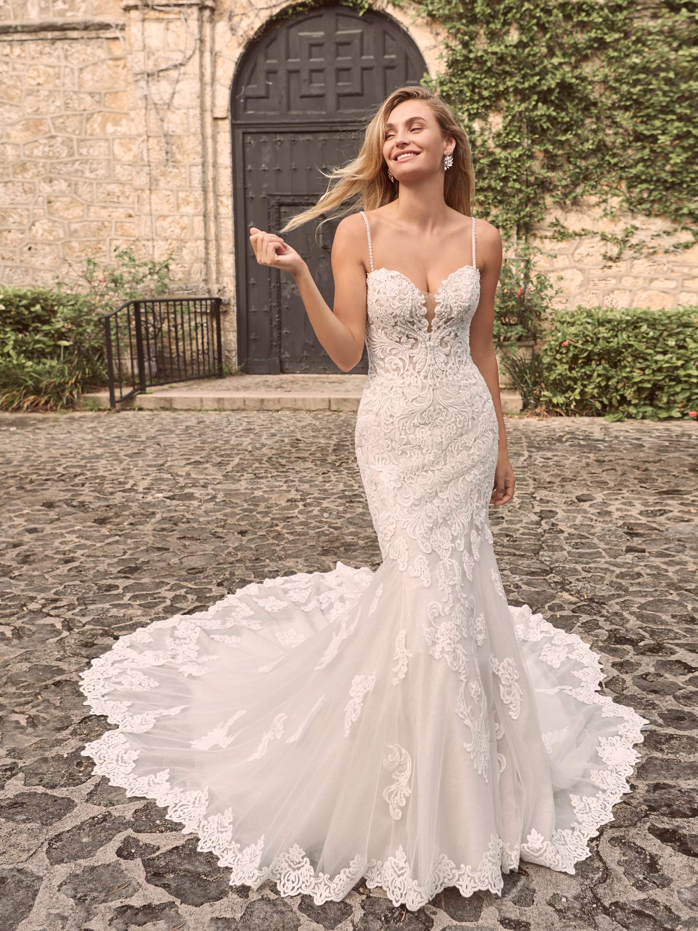 Sparkly Lace Fit and flare Bridal Dress Wedding Dress