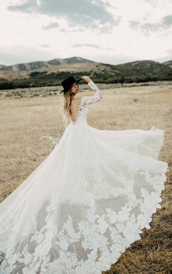Bold And Classic Lace Wedding Dress With Sleeves by Martina Liana - Image 2