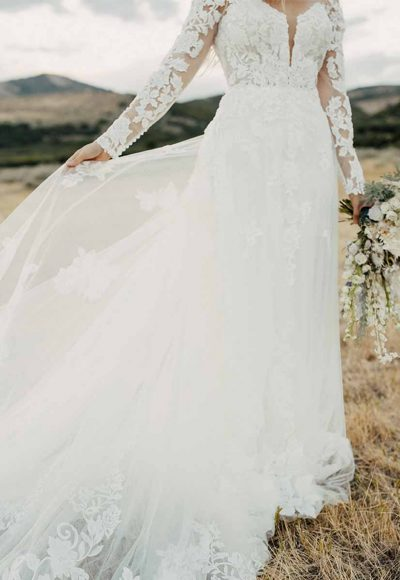 Bold And Classic Lace Wedding Dress With Sleeves by Martina Liana