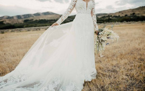 Bold And Classic Lace Wedding Dress With Sleeves by Martina Liana - Image 1
