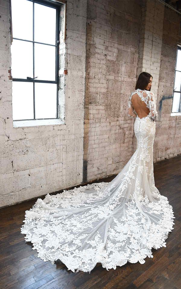 Lace High Neck Wedding Dress With Long Sleeves by Martina Liana - Image 2