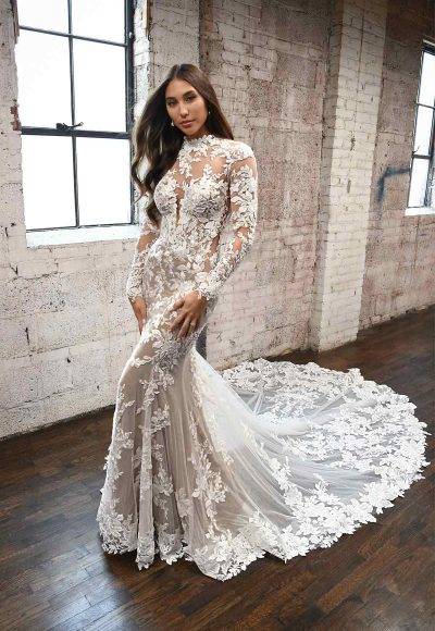 Lace High Neck Wedding Dress With Long Sleeves by Martina Liana