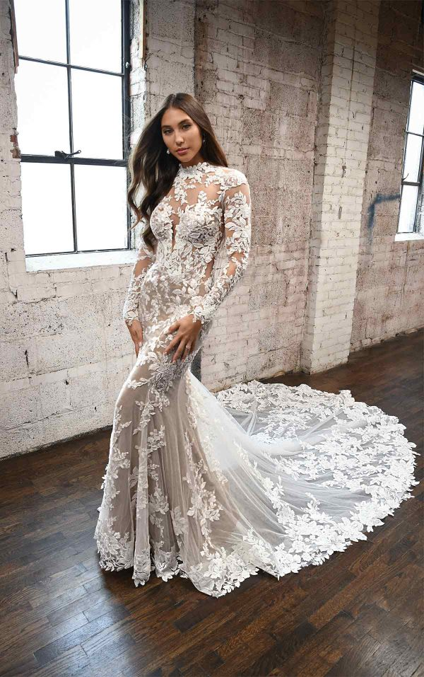 Lace High Neck Wedding Dress With Long Sleeves by Martina Liana - Image 1