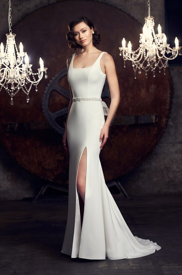 Sleeveless Scoop Neckline Fit And Flare Wedding Dress by Mikaella - Image 1