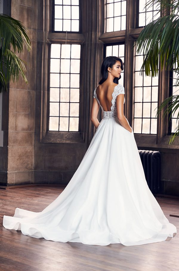 Cap Sleeve V-Neck Ball Gown Wedding Dress by Paloma Blanca - Image 2