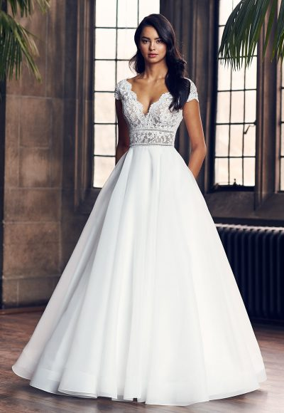 Cap Sleeve V-Neck Ball Gown Wedding Dress by Paloma Blanca