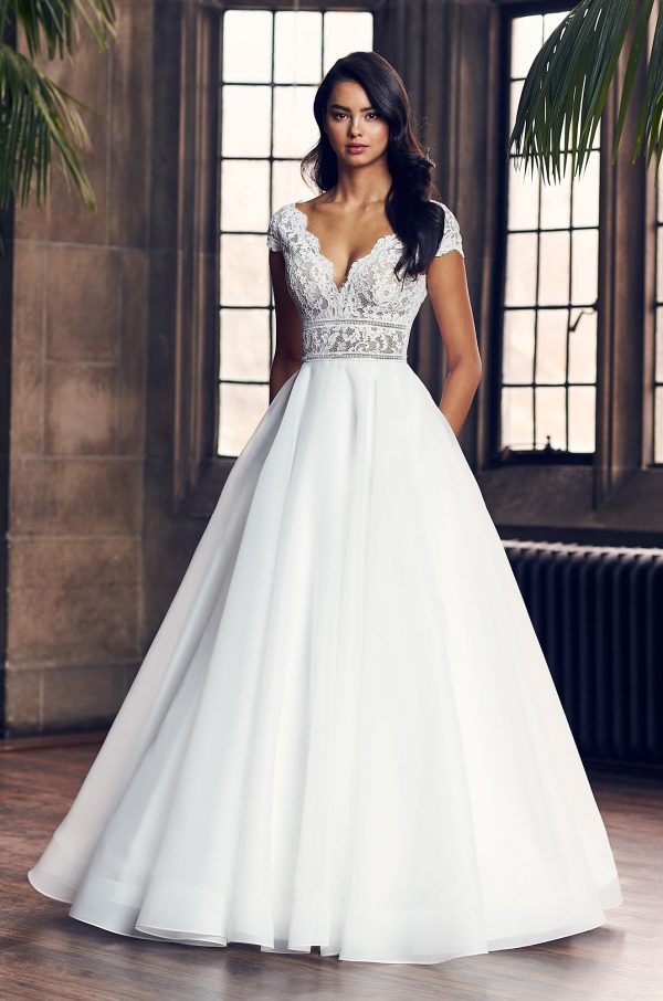 Cap Sleeve V-Neck Ball Gown Wedding Dress by Paloma Blanca - Image 1