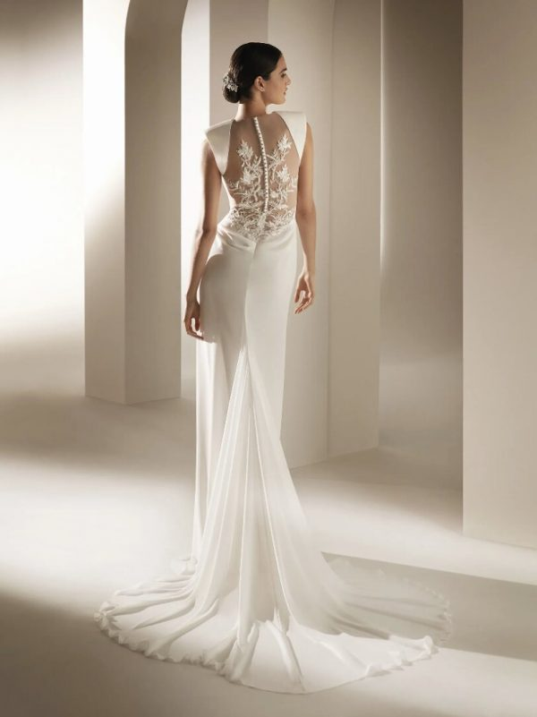 Flared Wedding Dress With V-neck Bodice In Chiffon by Pronovias - Image 2