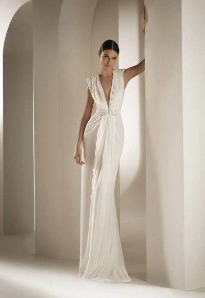 Flared Wedding Dress With V-neck Bodice In Chiffon by Pronovias