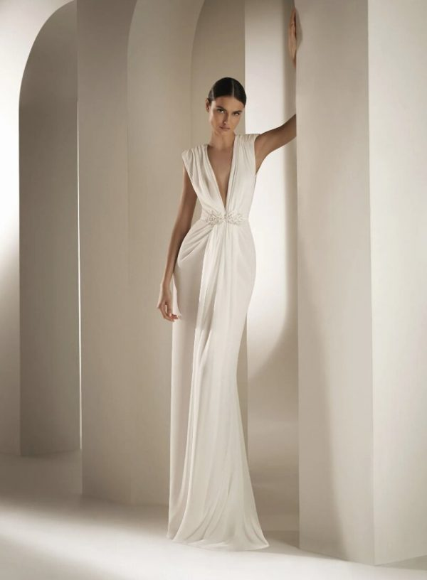 Flared Wedding Dress With V-neck Bodice In Chiffon by Pronovias - Image 1
