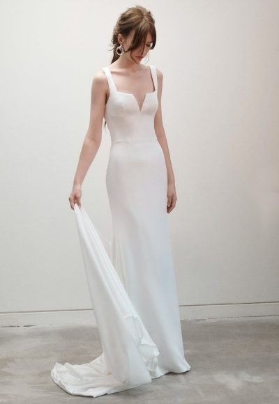 Sleeveless Square Neckline Sheath Simple Wedding Dress by Rivini