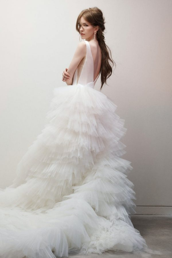Sleeveless V-neck Textured Ball Gown Wedding Dress by Rivini - Image 2
