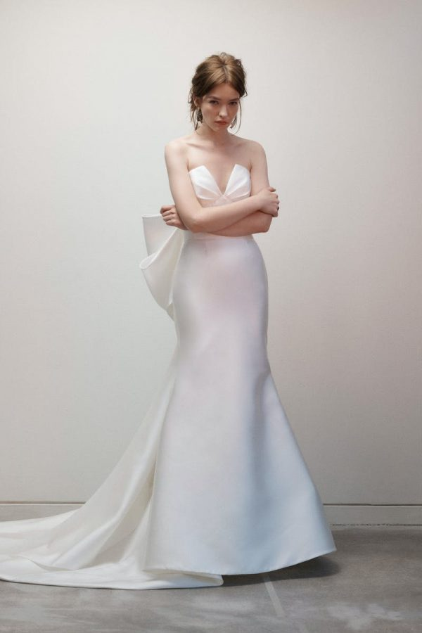 Strapless V-neck Fit And Flare Silk Wedding Dress With Bow by Rivini - Image 1