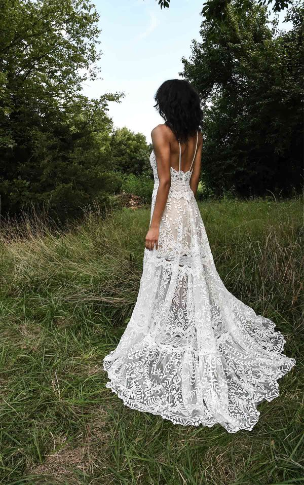 Spaghetti Strap A-line Wedding Dress With Vintage Lace Details by All Who Wander - Image 2