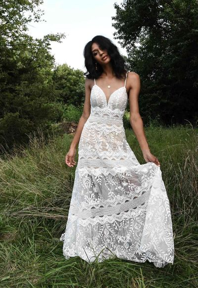Spaghetti Strap A-line Wedding Dress With Vintage Lace Details by All Who Wander