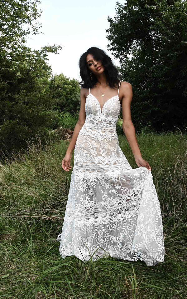 Spaghetti Strap A-line Wedding Dress With Vintage Lace Details by All Who Wander - Image 1