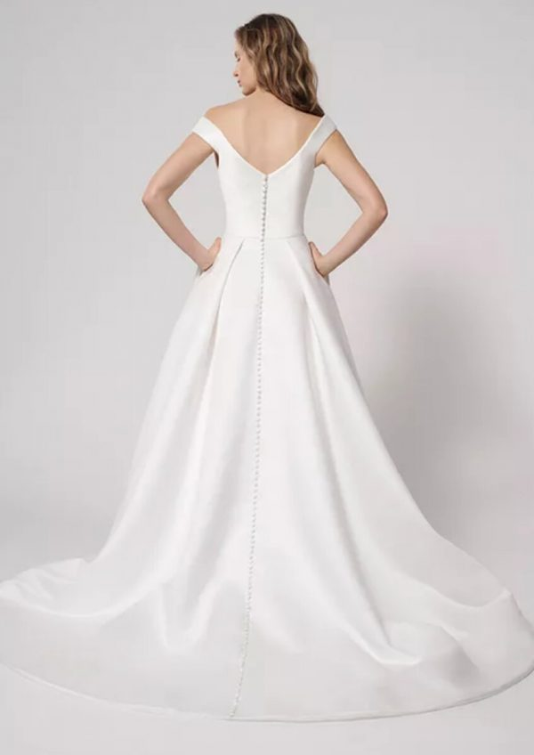 Off the Shoulder Ball Gown Wedding Dress with Slit by Alyne by Rita Vinieris - Image 2