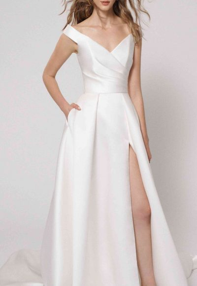 Off the Shoulder Ball Gown Wedding Dress with Slit by Alyne by Rita Vinieris