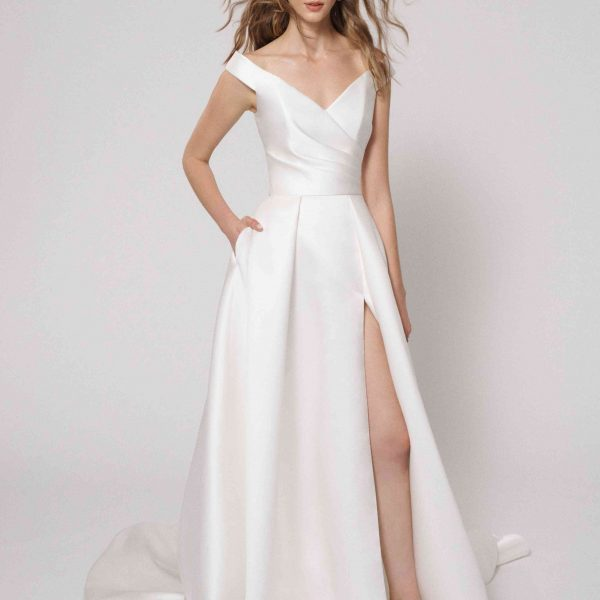 Off the Shoulder Ball Gown Wedding Dress with Slit by Alyne by Rita Vinieris - Image 1