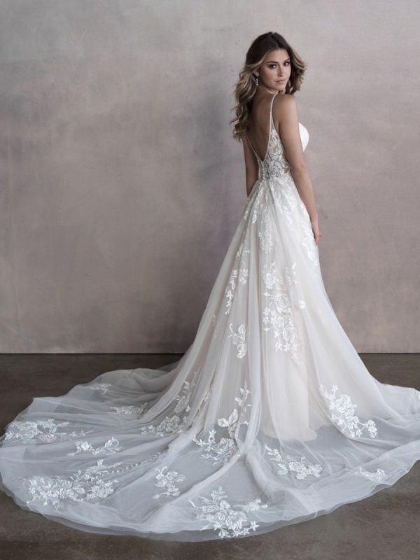 Spaghetti Strap Sweetheart Neckline Lace A-line Wedding Dress by Allure Bridals - Image 2