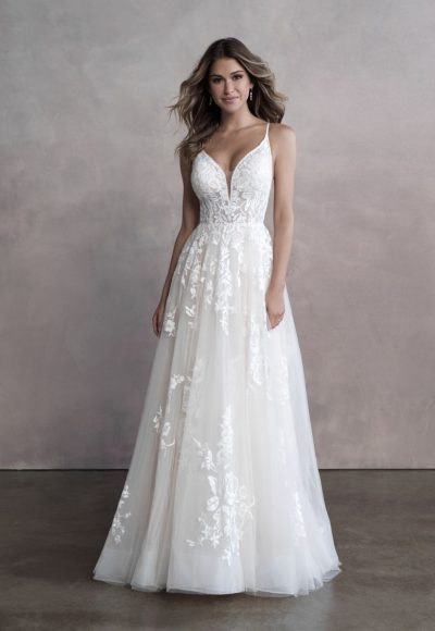 Spaghetti Strap Sweetheart Neckline Lace A-line Wedding Dress by Allure Bridals
