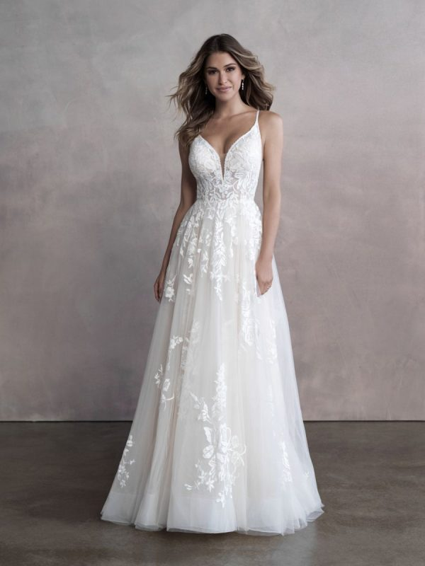 Spaghetti Strap Sweetheart Neckline Lace A-line Wedding Dress by Allure Bridals - Image 1