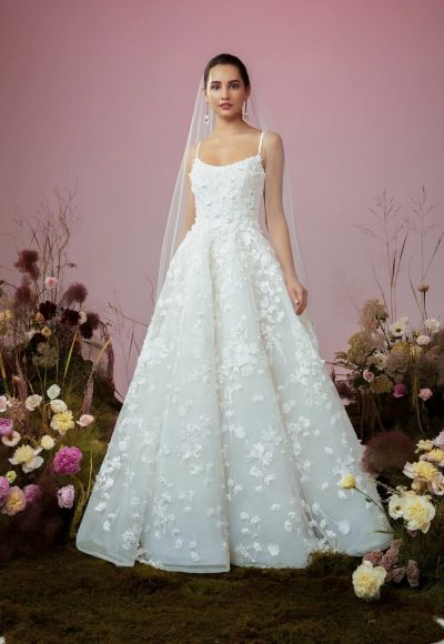 Spaghetti Strap Embroidered Ball Gown Wedding Dress by Anne Barge