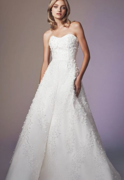 Strapless Sweetheart Neckline A-line Wedding Dress With Embroidery by Anne Barge