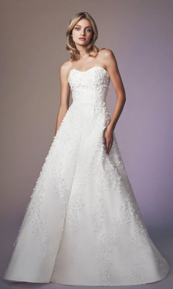 Strapless Sweetheart Neckline A-line Wedding Dress With Embroidery by Anne Barge - Image 1