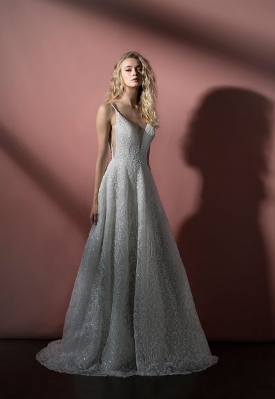 Spaghetti Strap Sparkle Tulle A-line Wedding Dress by BLUSH by Hayley Paige