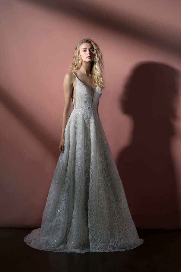 Spaghetti Strap Sparkle Tulle A-line Wedding Dress by BLUSH by Hayley Paige - Image 1