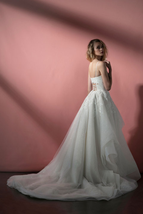 Spaghetti Strap Sparkle Tulle Ball Gown Wedding Dress With Open Back And Lace Applique by BLUSH by Hayley Paige - Image 2