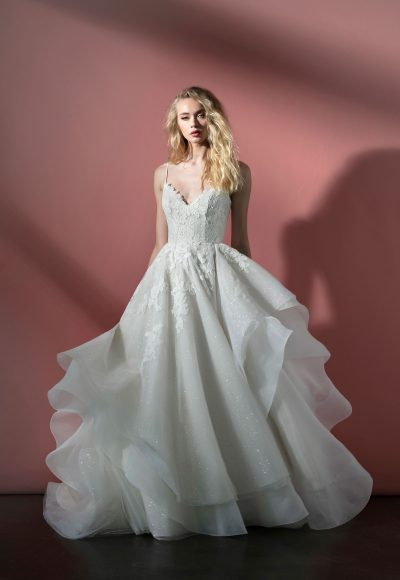 Spaghetti Strap Sparkle Tulle Ball Gown Wedding Dress With Open Back And Lace Applique by BLUSH by Hayley Paige