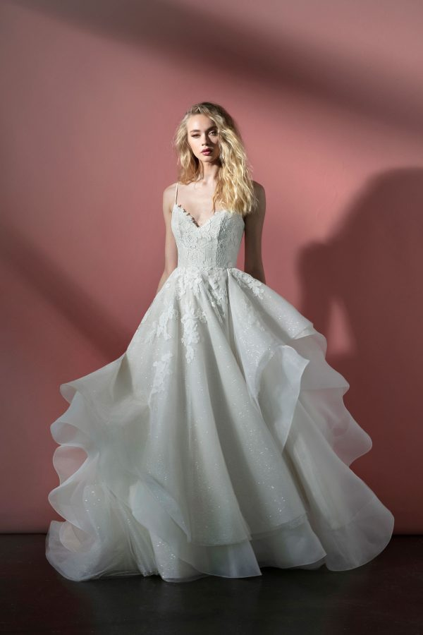 Spaghetti Strap Sparkle Tulle Ball Gown Wedding Dress With Open Back And Lace Applique by BLUSH by Hayley Paige - Image 1