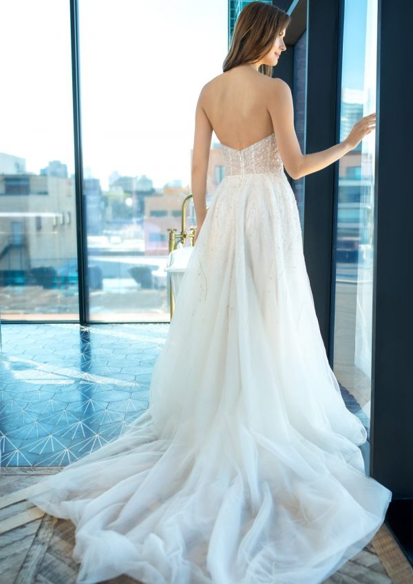 Strapless A-line Wedding Dress With Beading Throughout by Enaura Bridal - Image 2