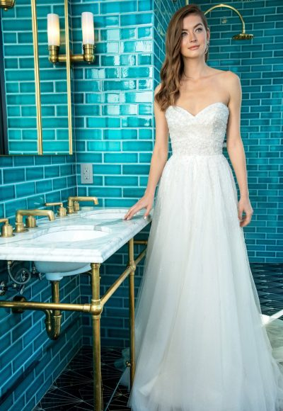 Strapless A-line Wedding Dress With Beading Throughout by Enaura Bridal