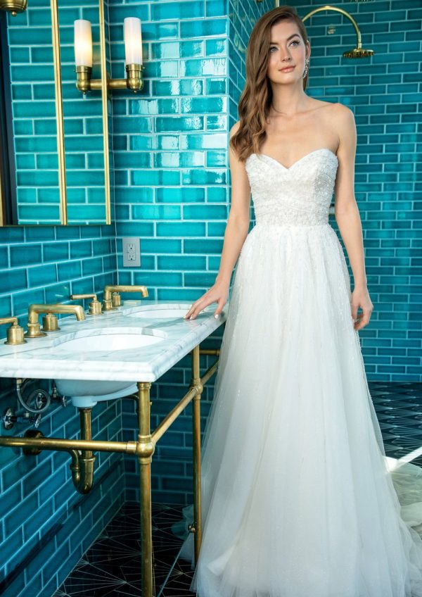Strapless A-line Wedding Dress With Beading Throughout by Enaura Bridal - Image 1