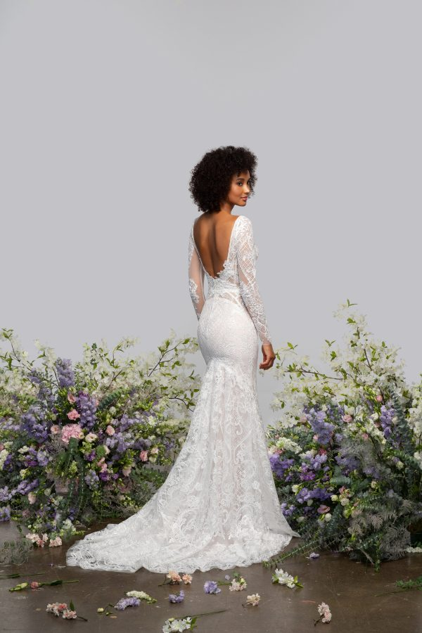 Illusion Long Sleeve V-neck Fit And Flare Wedding Dress With Embroidery Throughout by Hayley Paige - Image 2