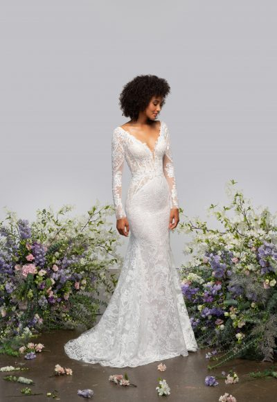 Illusion Long Sleeve V-neck Fit And Flare Wedding Dress With Embroidery Throughout by Hayley Paige