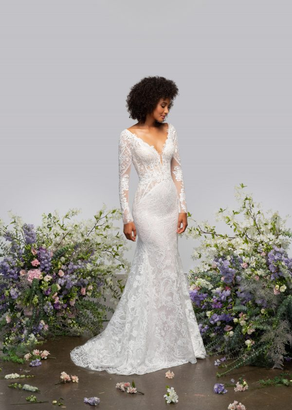 Illusion Long Sleeve V-neck Fit And Flare Wedding Dress With Embroidery Throughout by Hayley Paige - Image 1