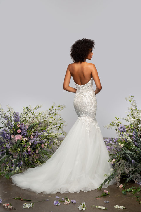 Strapless Fit And Flare Wedding Dress With Embroidered Bodice And Tulle Skirt by Hayley Paige - Image 2