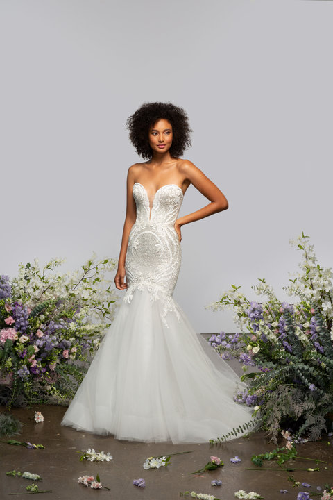 Strapless Fit And Flare Wedding Dress With Embroidered Bodice And Tulle Skirt by Hayley Paige - Image 1
