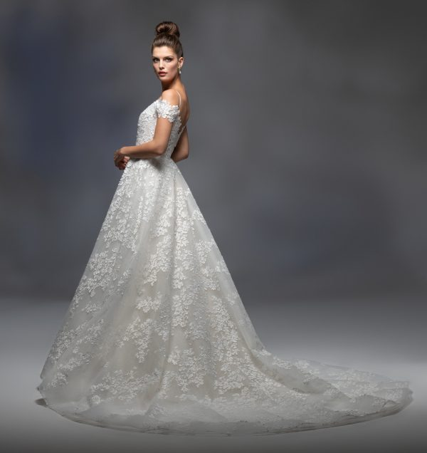 Off The Shoulder Sweetheart Neckline Embroidered A-line Wedding Dress by Lazaro - Image 2