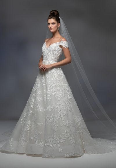 Off The Shoulder Sweetheart Neckline Embroidered A-line Wedding Dress by Lazaro