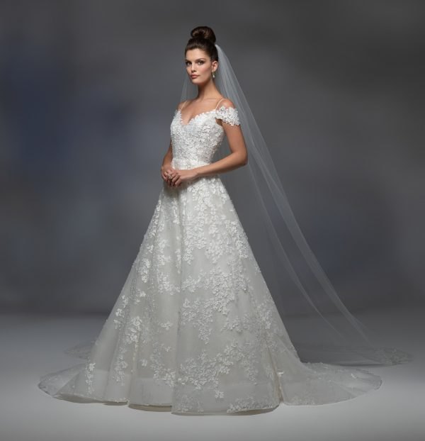 Off The Shoulder Sweetheart Neckline Embroidered A-line Wedding Dress by Lazaro - Image 1