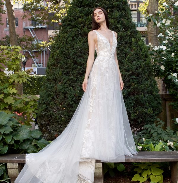 Sleeveless V-neck Sparkle Wedding Dress by Lazaro - Image 2