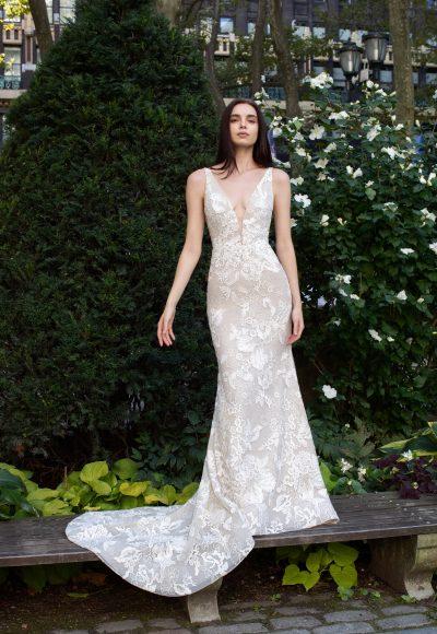 Sleeveless V-neck Sparkle Wedding Dress by Lazaro
