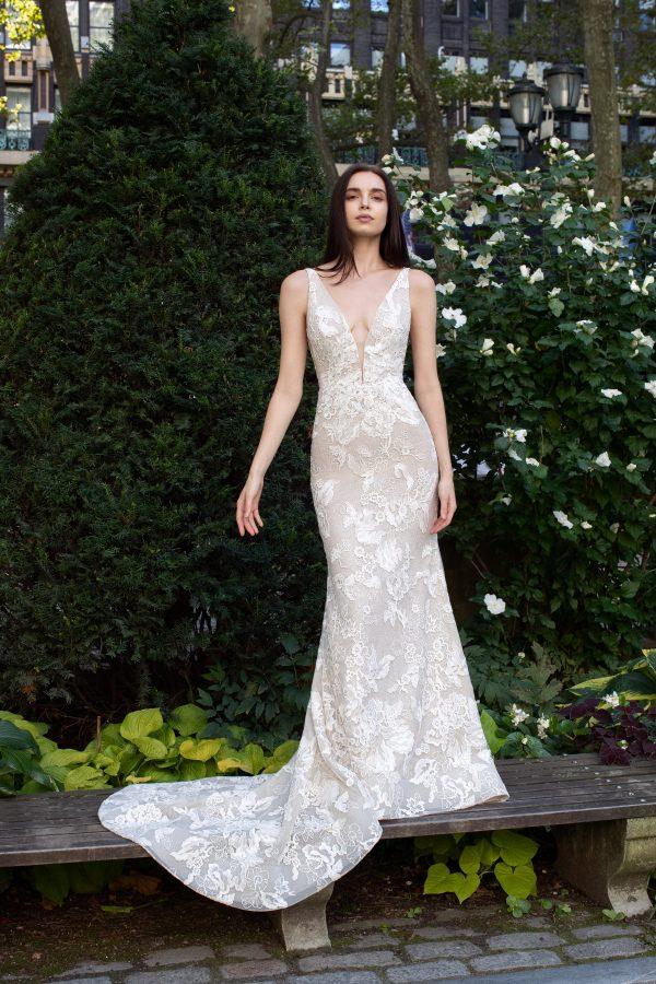 Sleeveless V-neck Sparkle Wedding Dress by Lazaro - Image 1